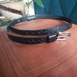 NWPT Wrangle black embroidered leather belt